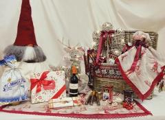 Cesto Cassapanca rosso medio con decori Design Valentine