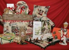 Cesto Cassapanca Linea Christmas rosso con decori Design Valentine
